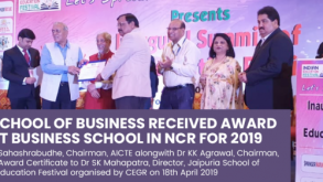 Jaipuria School of Business has been awarded with Outstanding Business School in Delhi NCR 2019 by CEGR